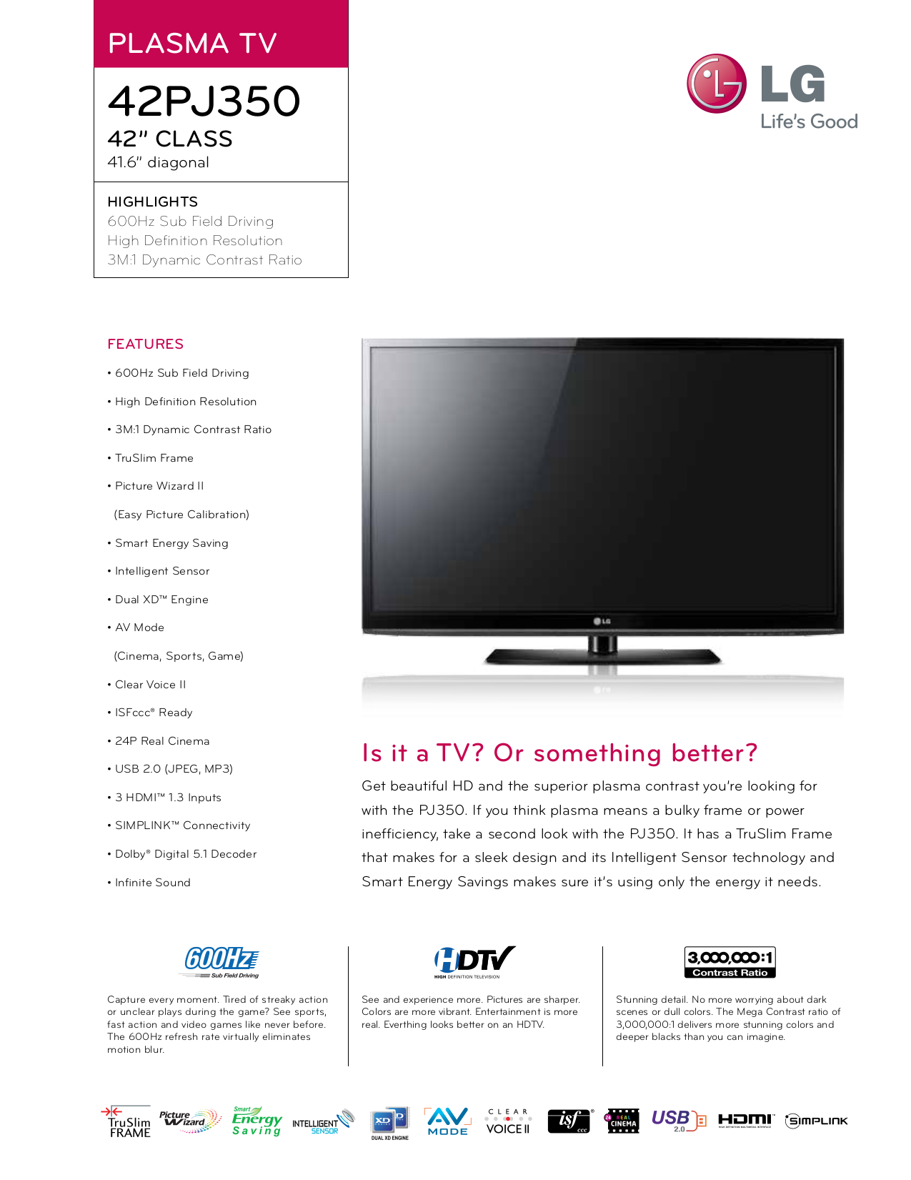 LG TV 42PJ350 pdf page preview