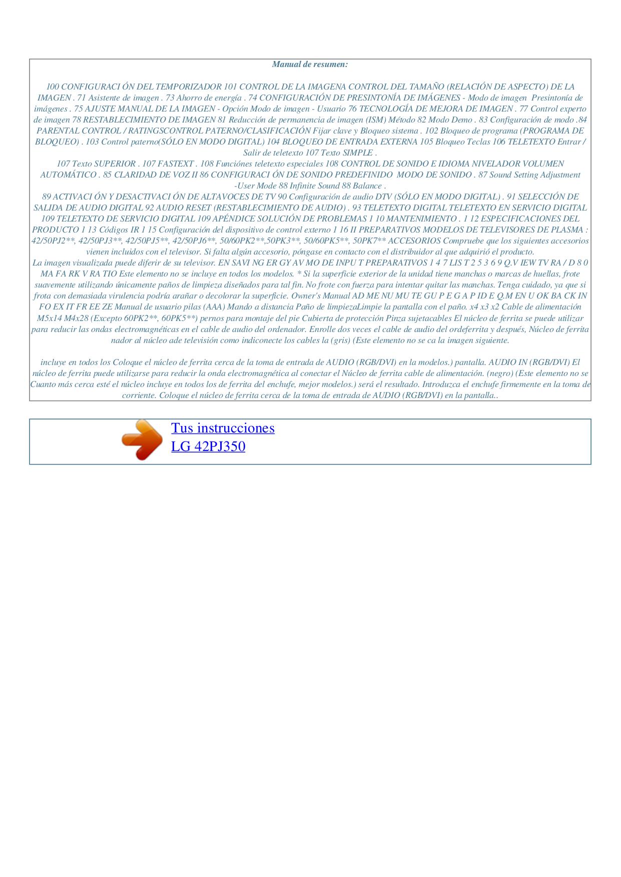 LG TV 42PJ350 pdf page preview
