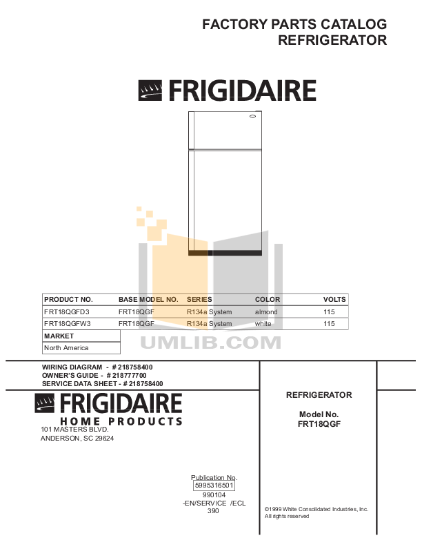 pdf for Frigidaire Refrigerator FRT18QGFW3 manual