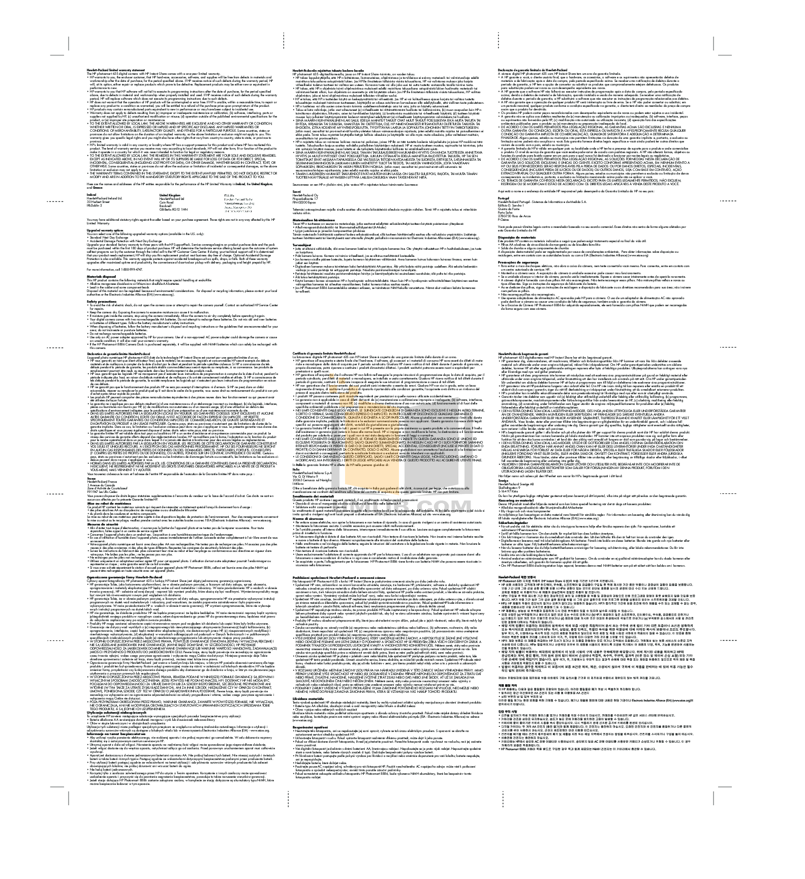 pdf for HP Digital Camera Photosmart 635 manual