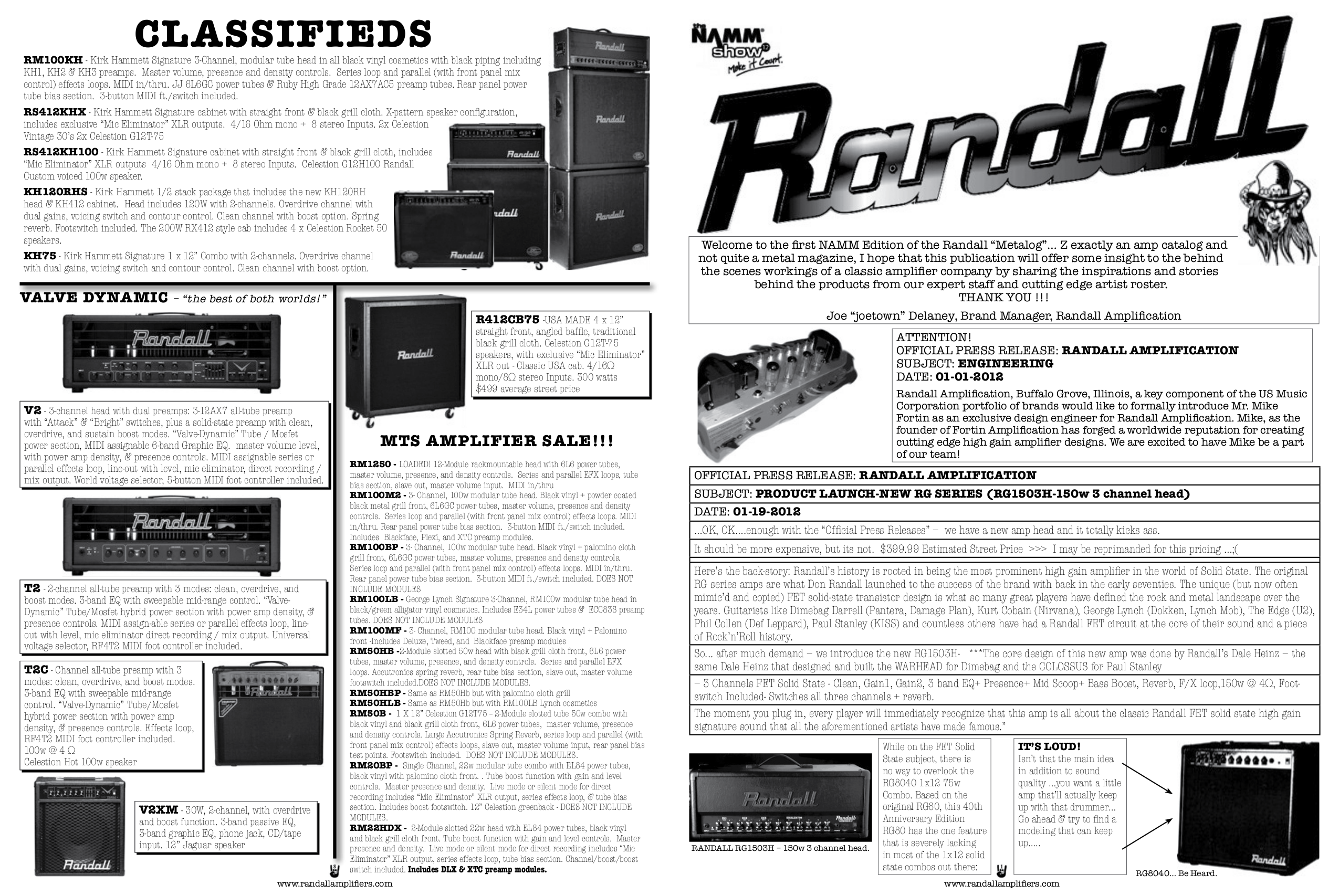pdf for Randall Amp RT50H manual