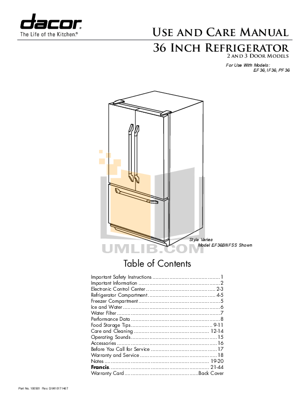 pdf for Dacor Refrigerator Epicure EF36BNFSS manual