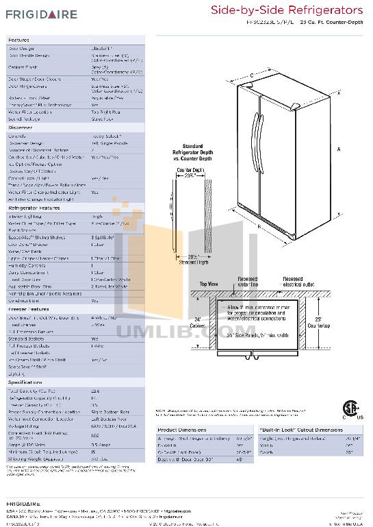 pdf for Frigidaire Refrigerator FFSC2323L manual