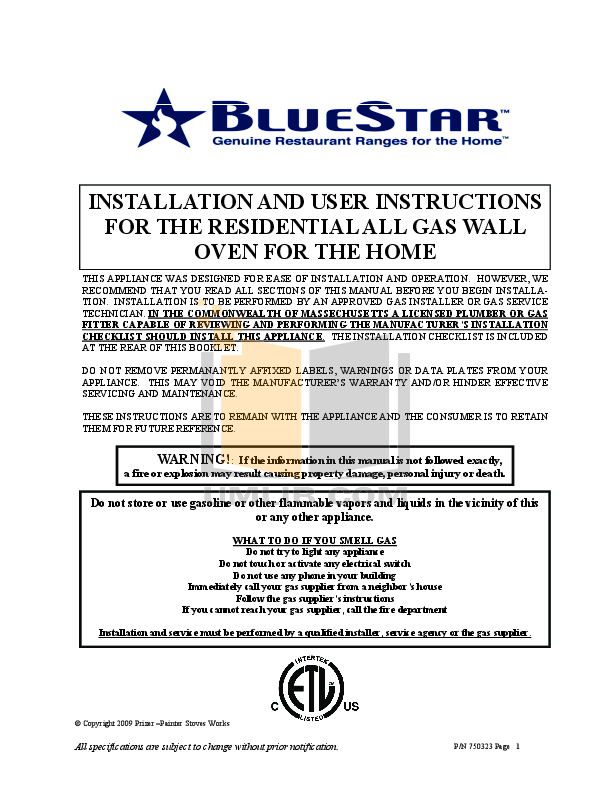 pdf for BlueStar Oven BWO30AGS manual