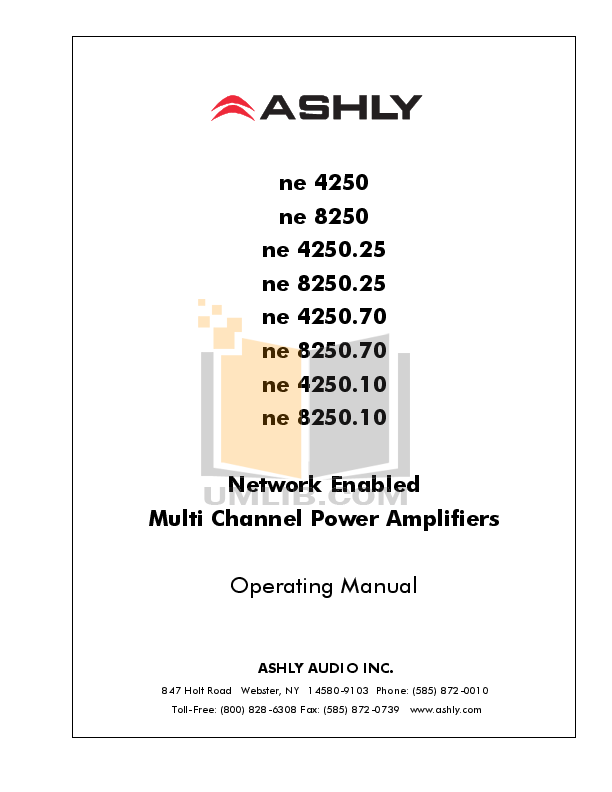 pdf for Ashly Amp NE8250.10 manual
