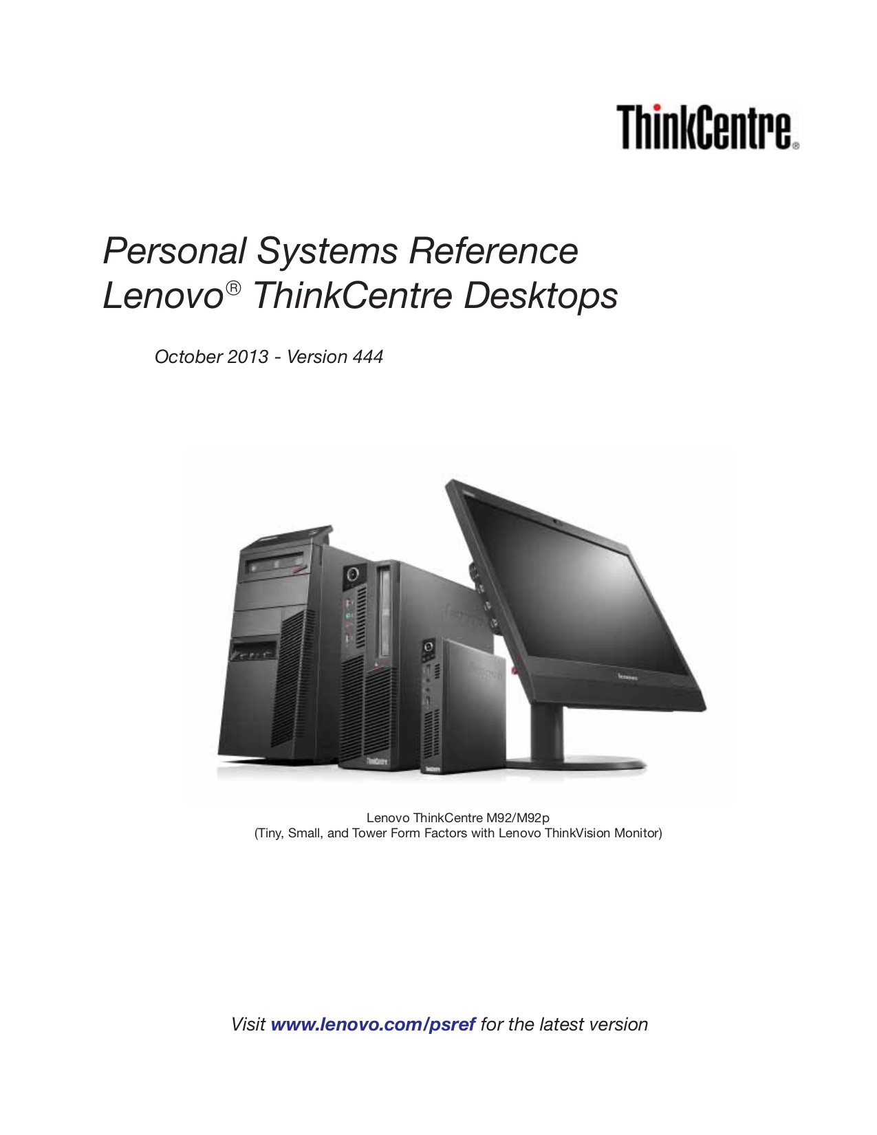pdf for Lenovo Desktop ThinkCentre M58e 7307 manual