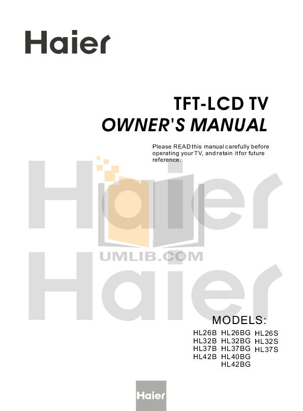 pdf for Haier TV HL42S manual