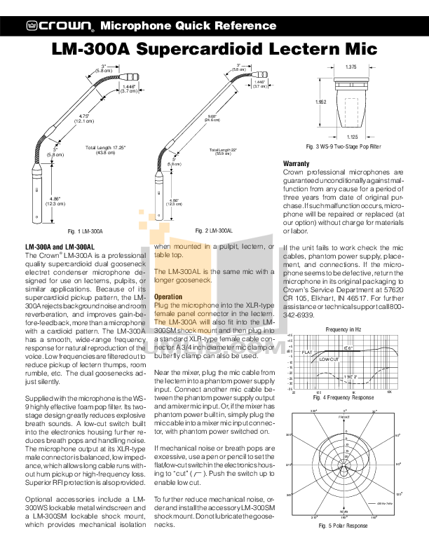 pdf for Crown Other LM-300AL Microphones manual