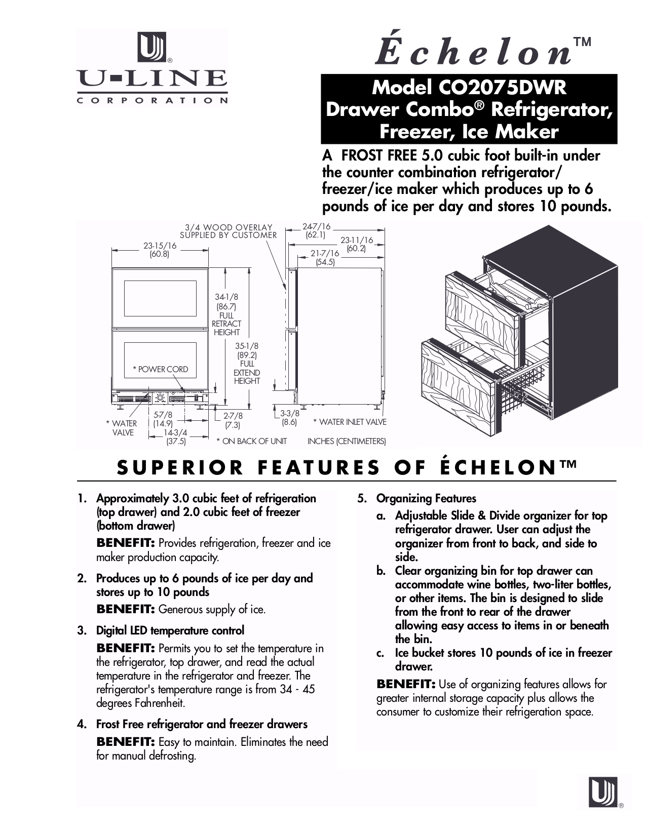 pdf for U-Line Refrigerator Echelon CO2075DWR manual