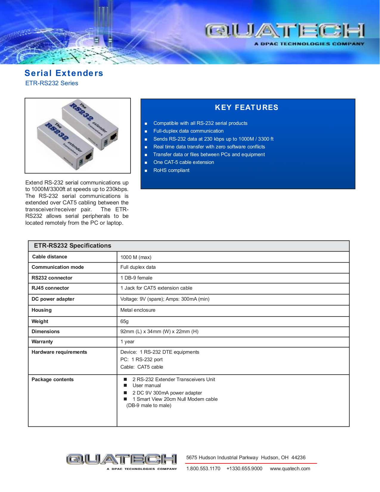 pdf for Quatech Other ETR-RS232 Extenders manual