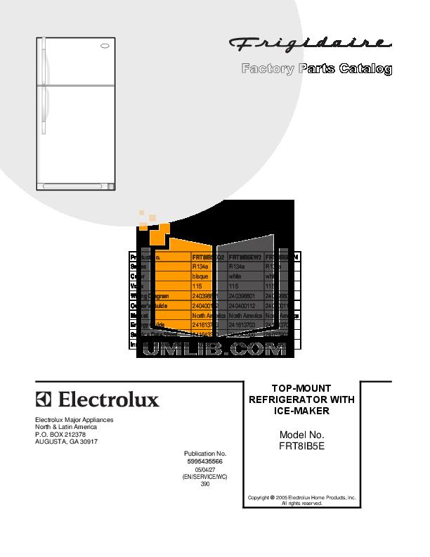 pdf for Frigidaire Refrigerator FRT8IB5EW2 manual