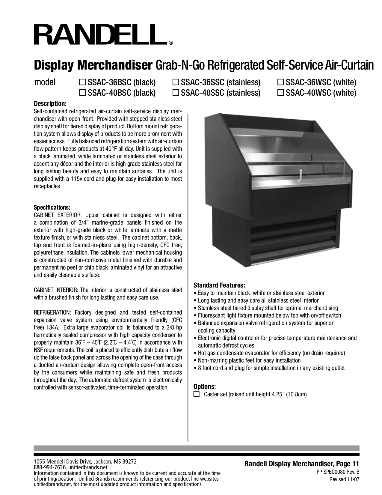 pdf for Randell Other SSAC-40BSC Merchandisers manual