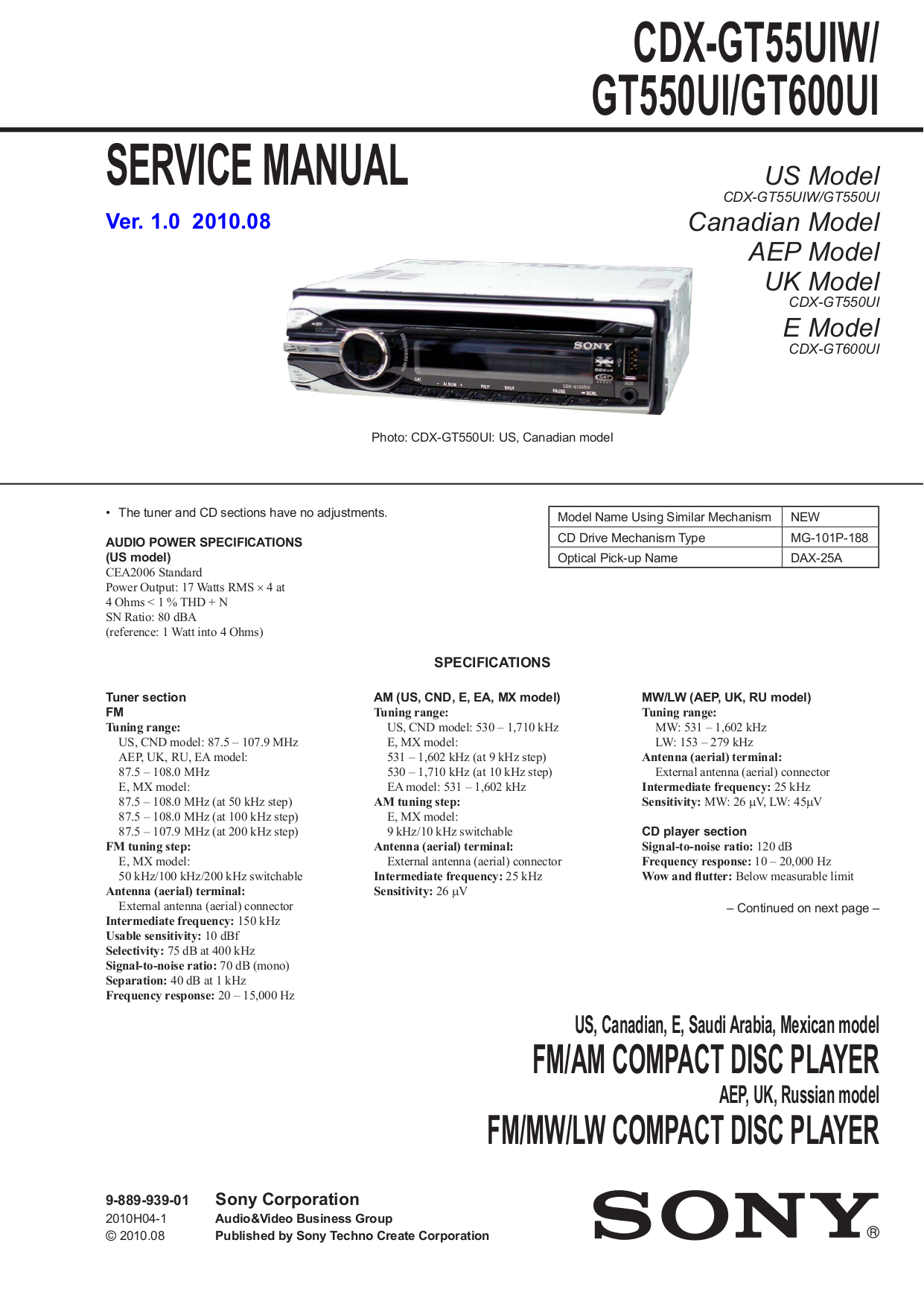 download free pdf for sony xplod cdx gt55uiw car receiver manual rh umlib com sony xplod cdx gt240 car stereo manual sony xplod mex-bt3800u bluetooth car stereo manual