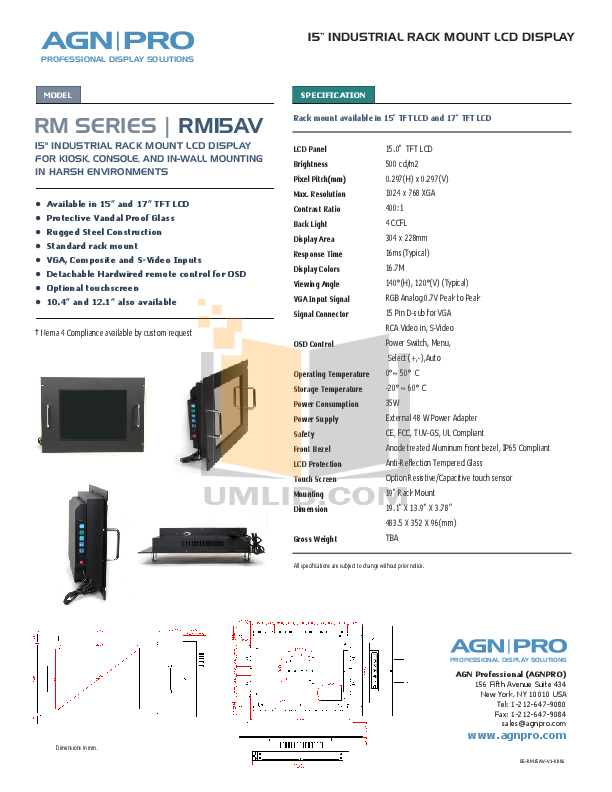 pdf for Agnpro Monitor RM-15AV manual