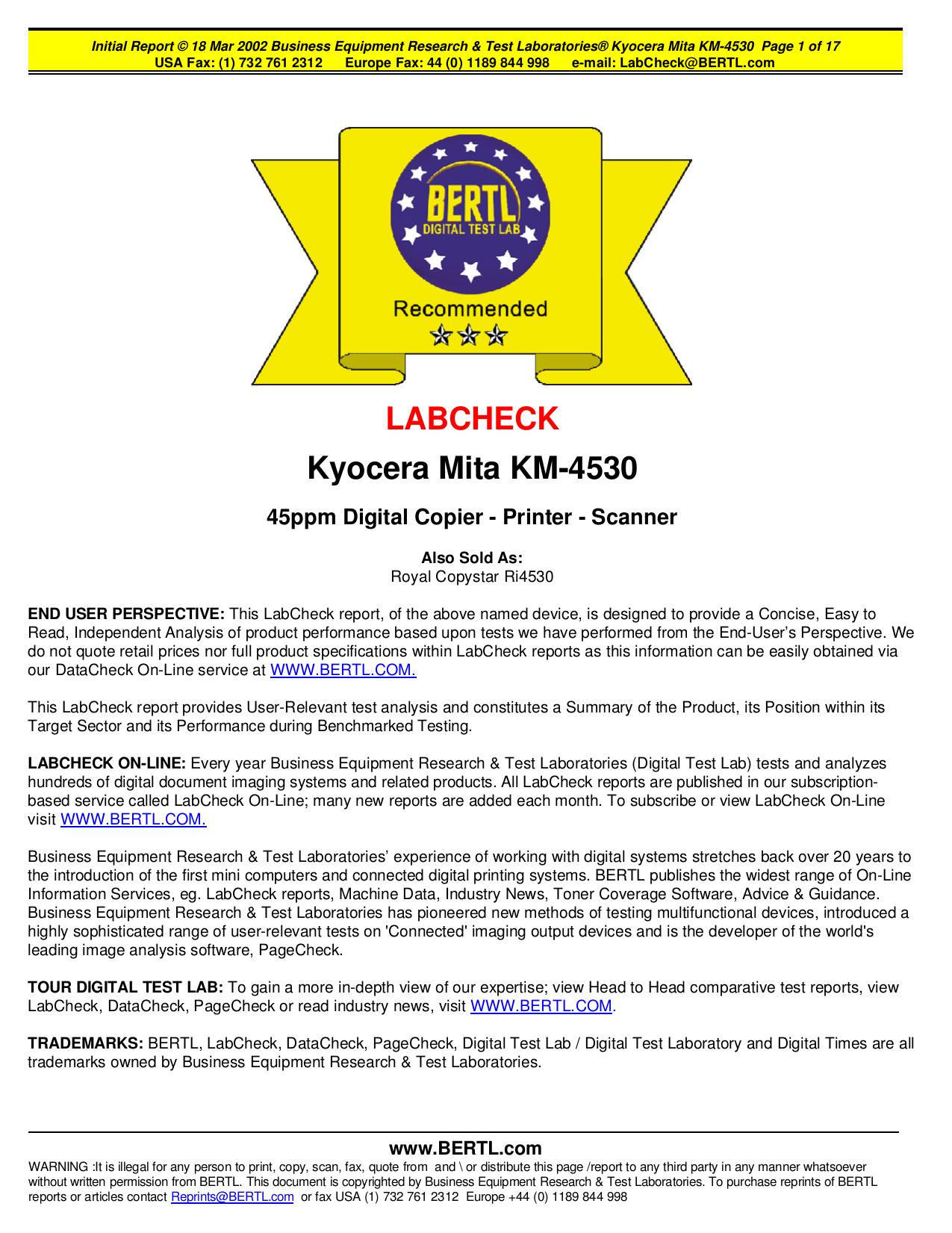 pdf for Kyocera Printer KM-4530 manual