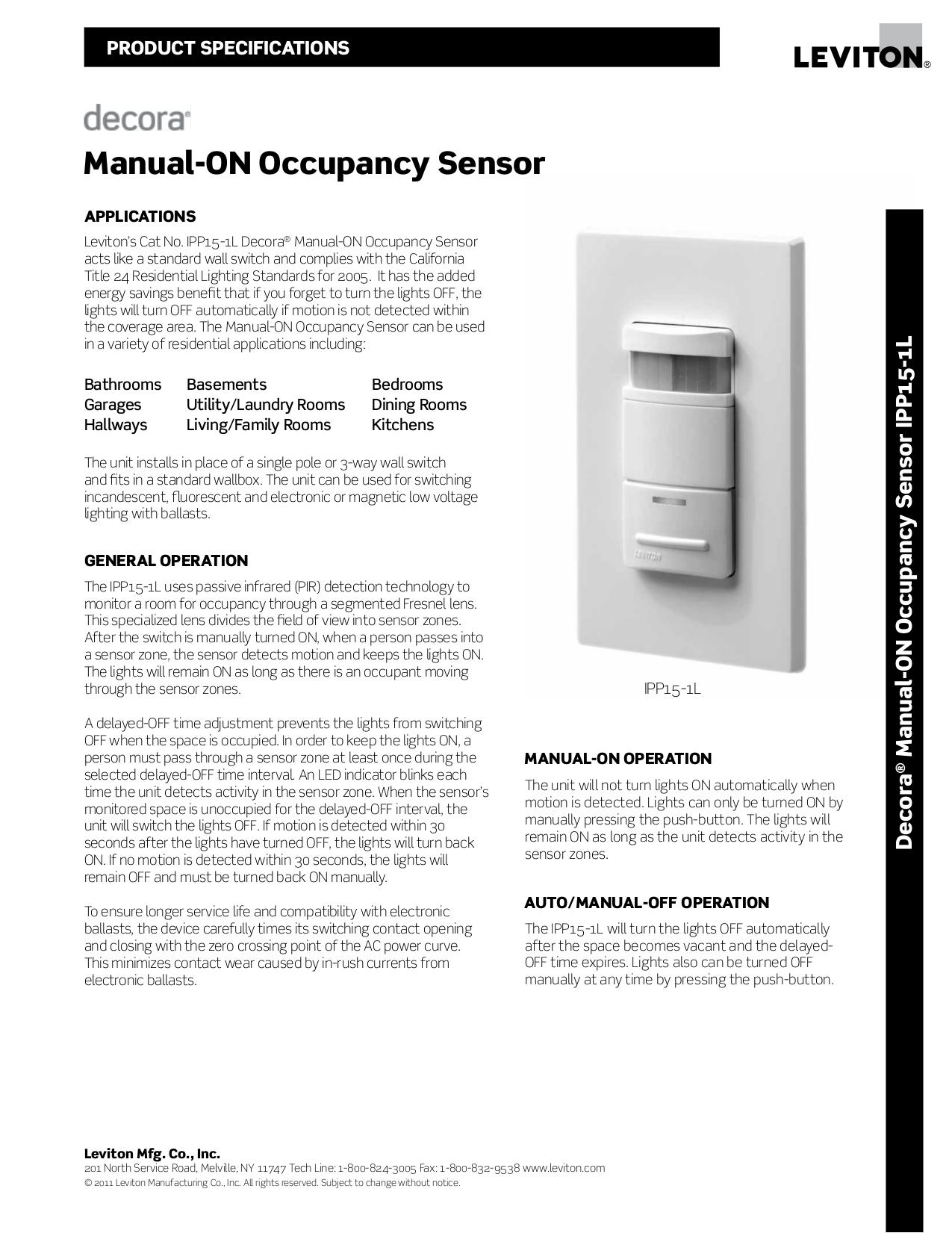 Download free pdf for Leviton IPP15-1L Occupancy Sensor Other manual