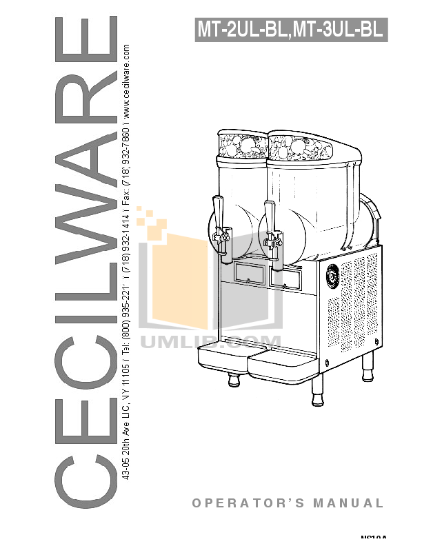 pdf for Cecilware Other MT-2-UL Dispensers manual