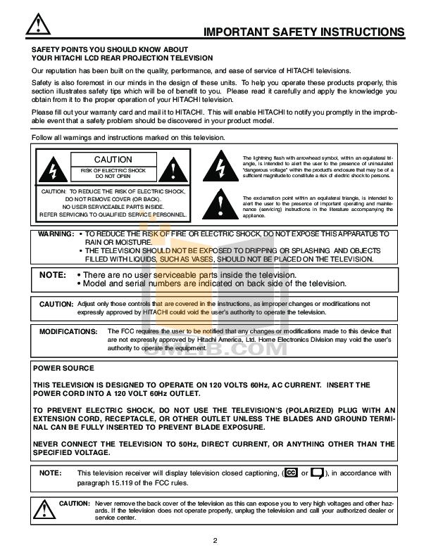 Hitachi TV 50V715 pdf page preview