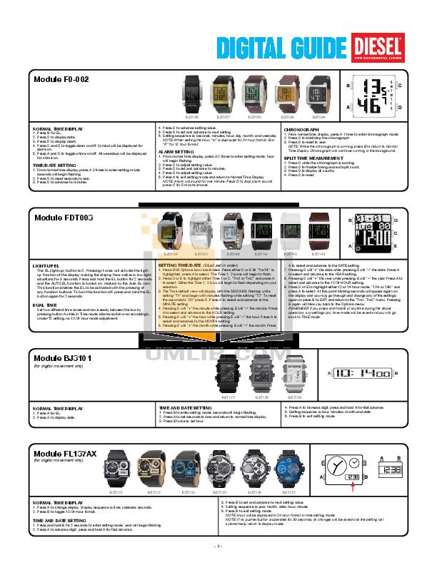 pdf for Diesel Watch DZ7071 manual