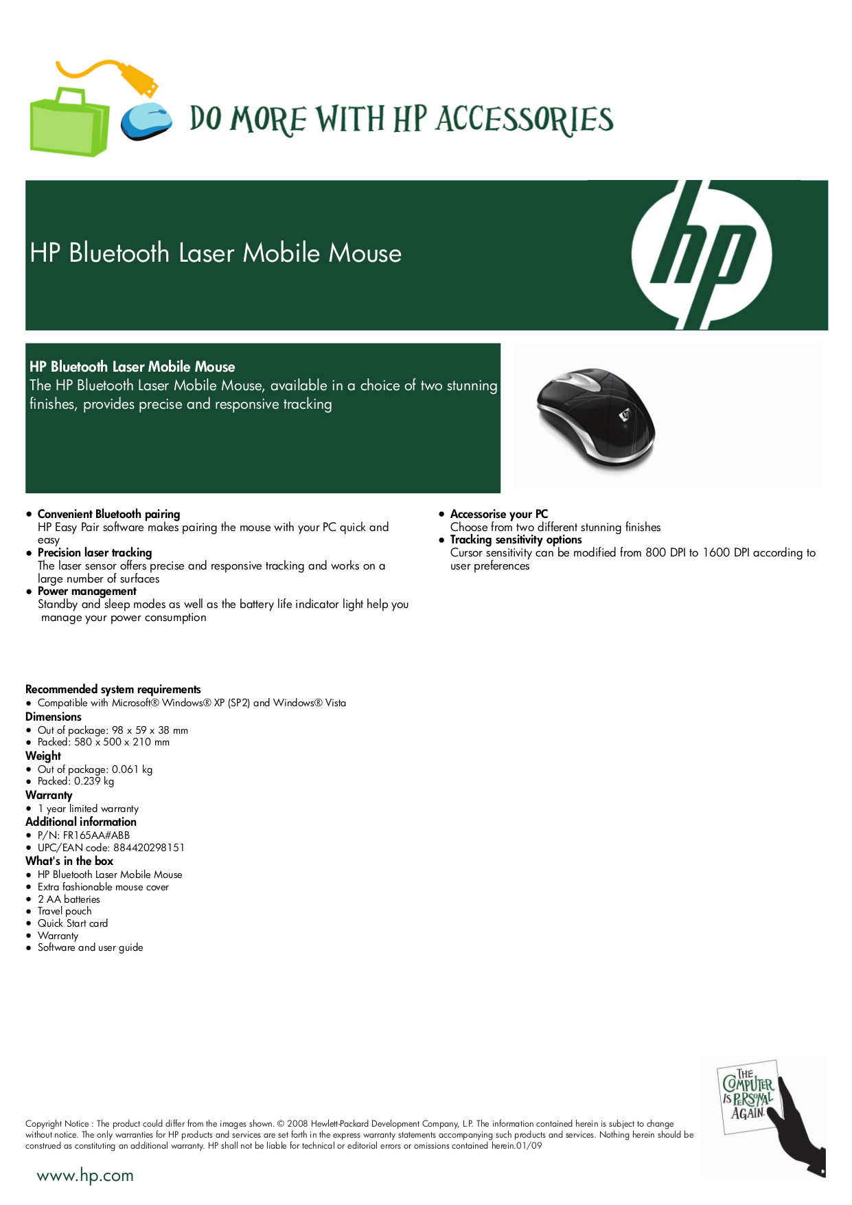 pdf for HP Mouse FR165AA manual