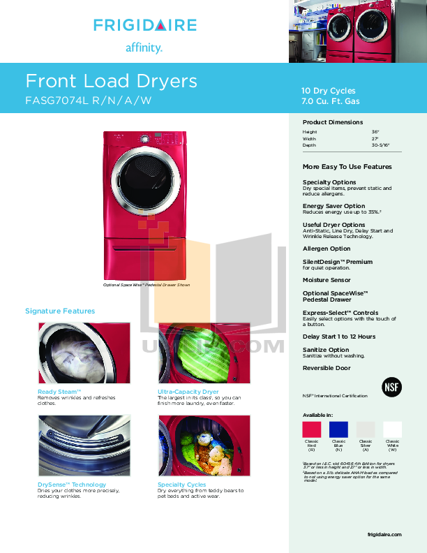 pdf for Frigidaire Dryer Affinity FASG7074L manual