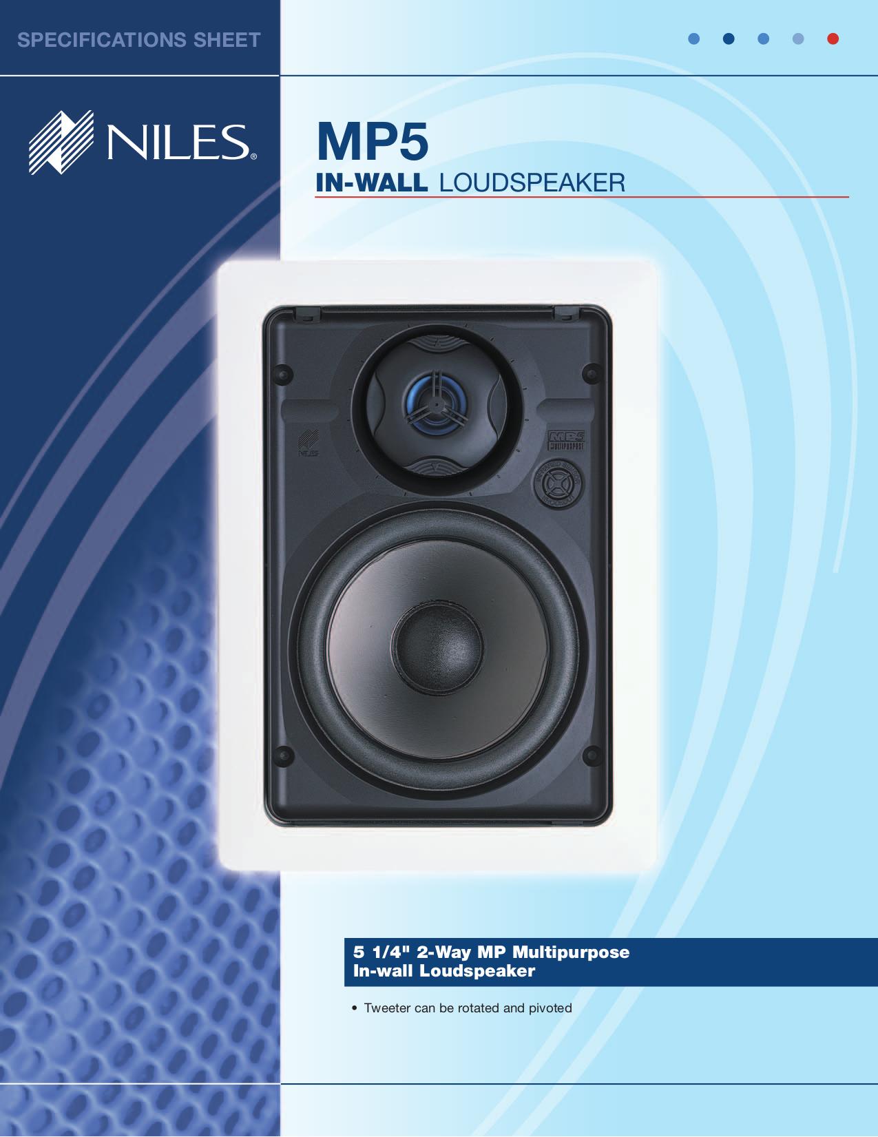 pdf for Niles Speaker MP5 manual