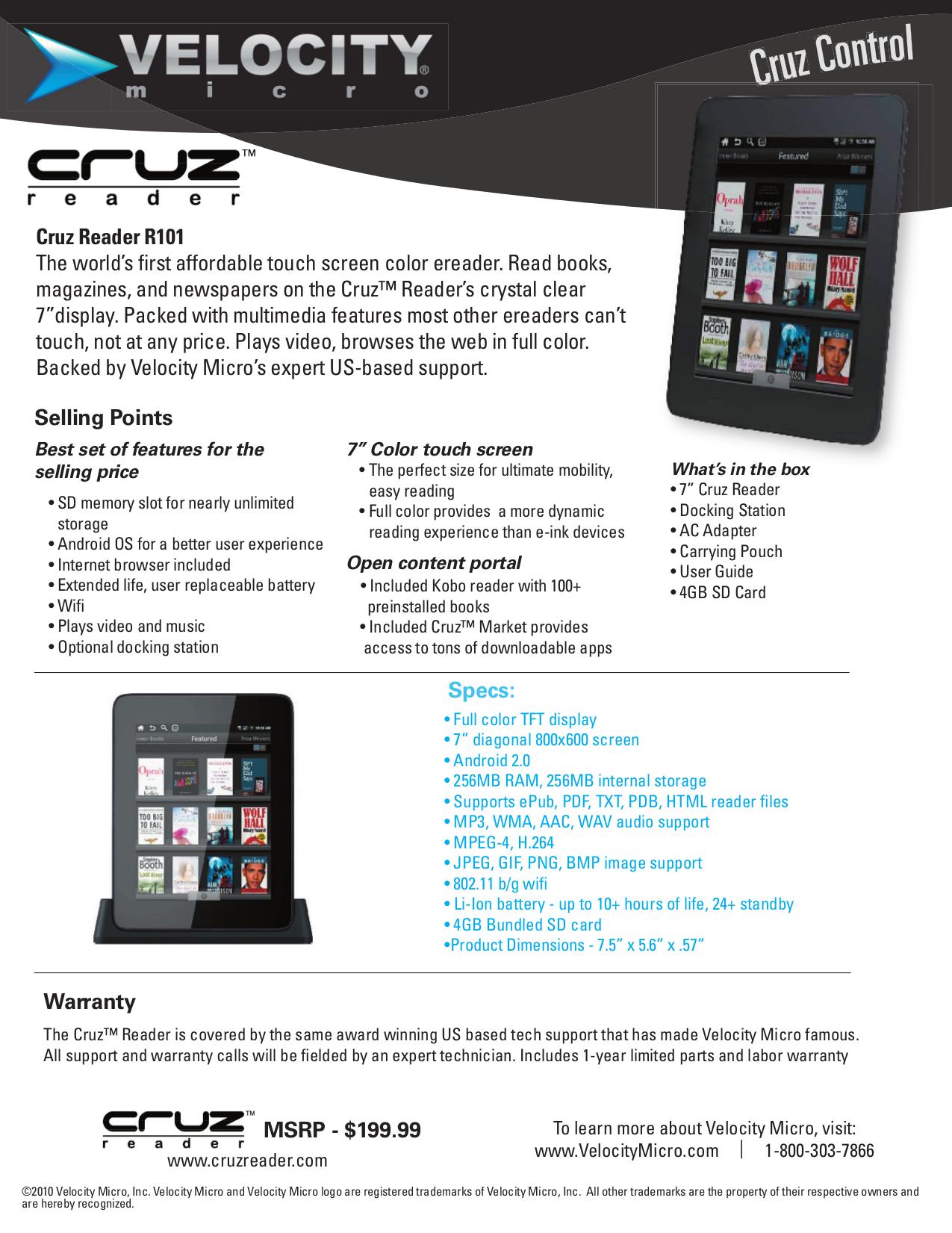 download free pdf for velocity cruz r101 tablet manual rh umlib com Cruz Reader Charger Cruz Reader Problems