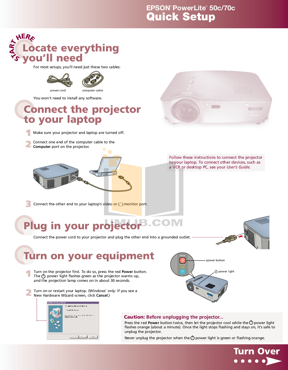 pdf for Epson Projector PowerLite 70c manual