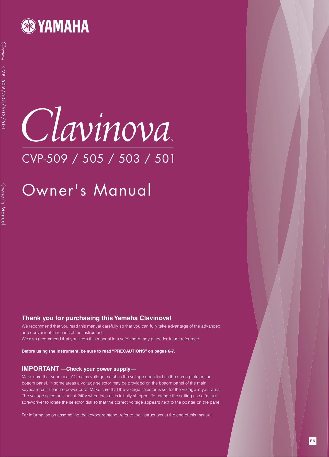 pdf for Yamaha Music Keyboard CVP-98 manual