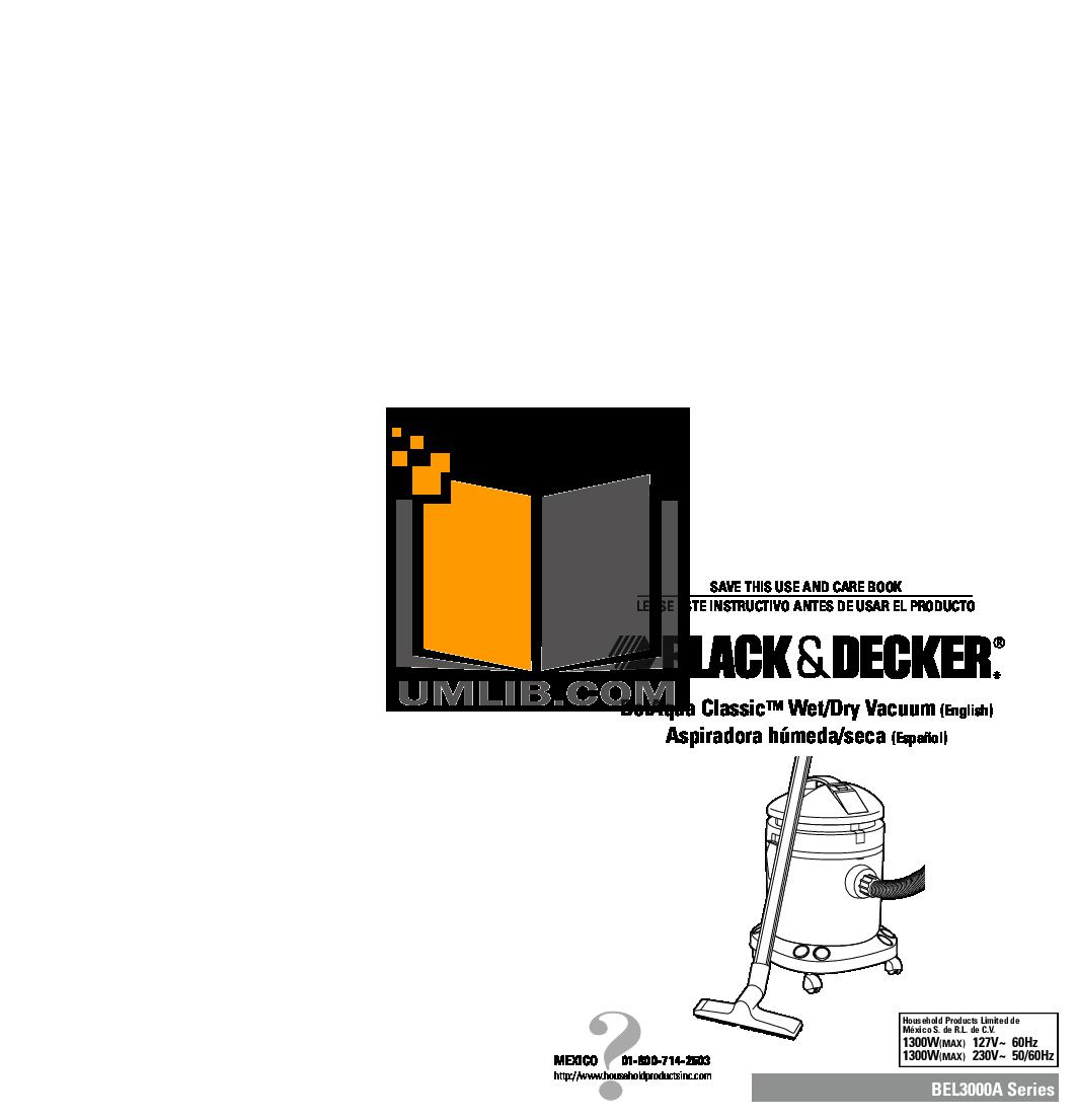 pdf for BlackAndDecker Vacuum BEL3000A manual