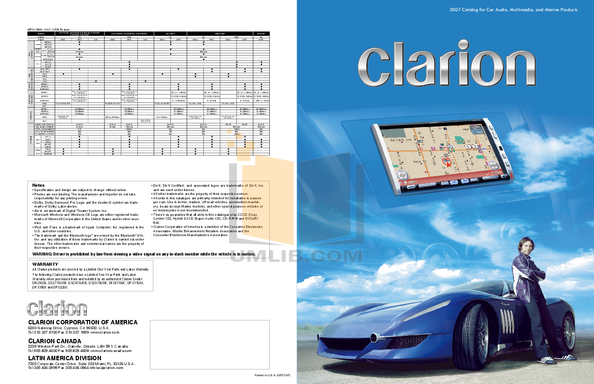 pdf for Clarion Speaker SRH292HX manual