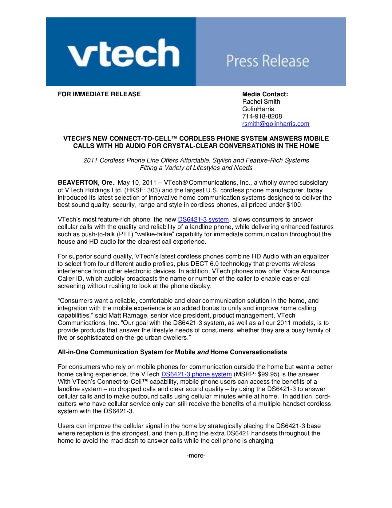 pdf for Vtech Telephone CS6429-3 manual