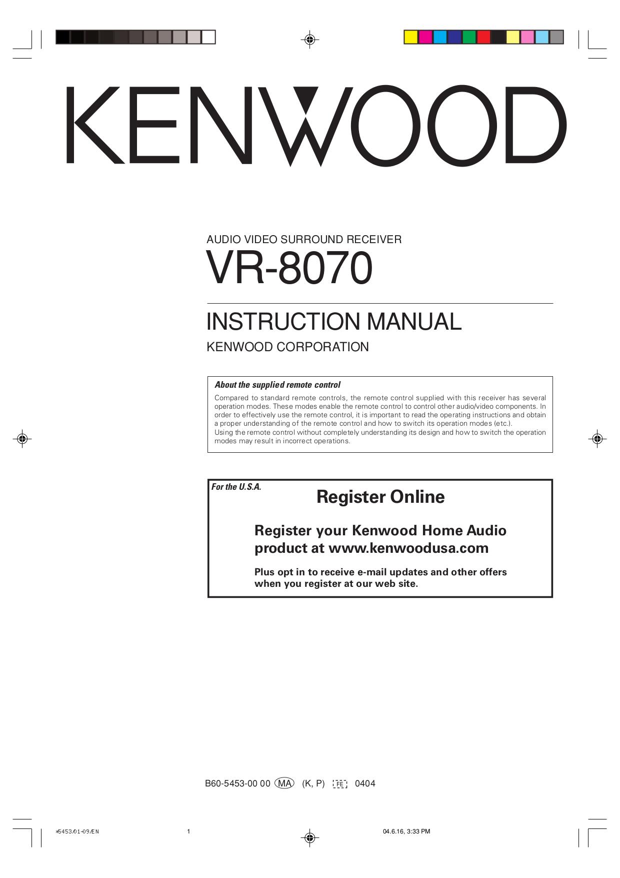 Download free pdf for kenwood vr-8070 receiver manual.