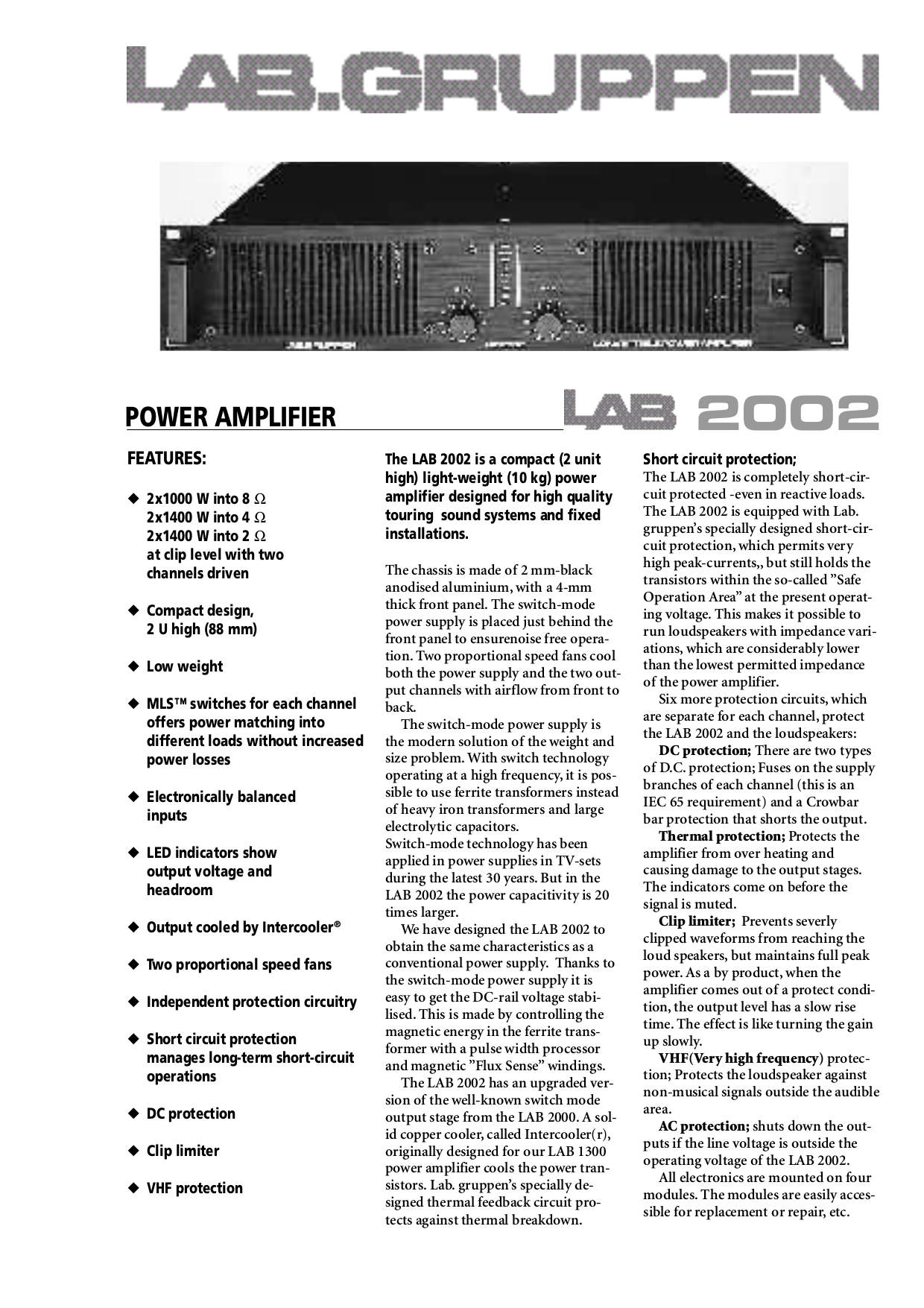 pdf for Lab.gruppen Amp LAB 500 manual