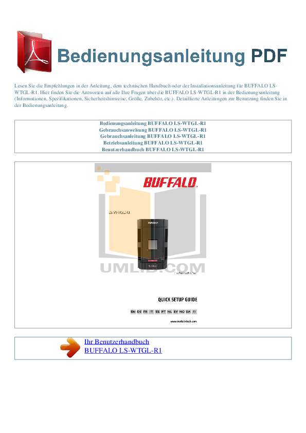 pdf for Buffalo Storage LS-WTGL manual