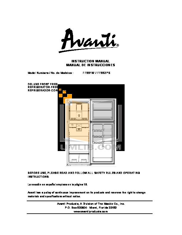 pdf for Avanti Refrigerator FF991W manual