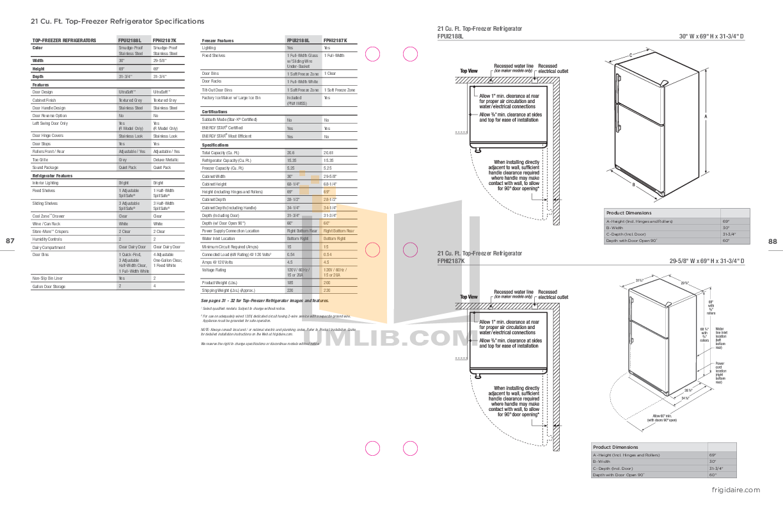 pdf for Frigidaire Refrigerator Professional FPHI2187K manual