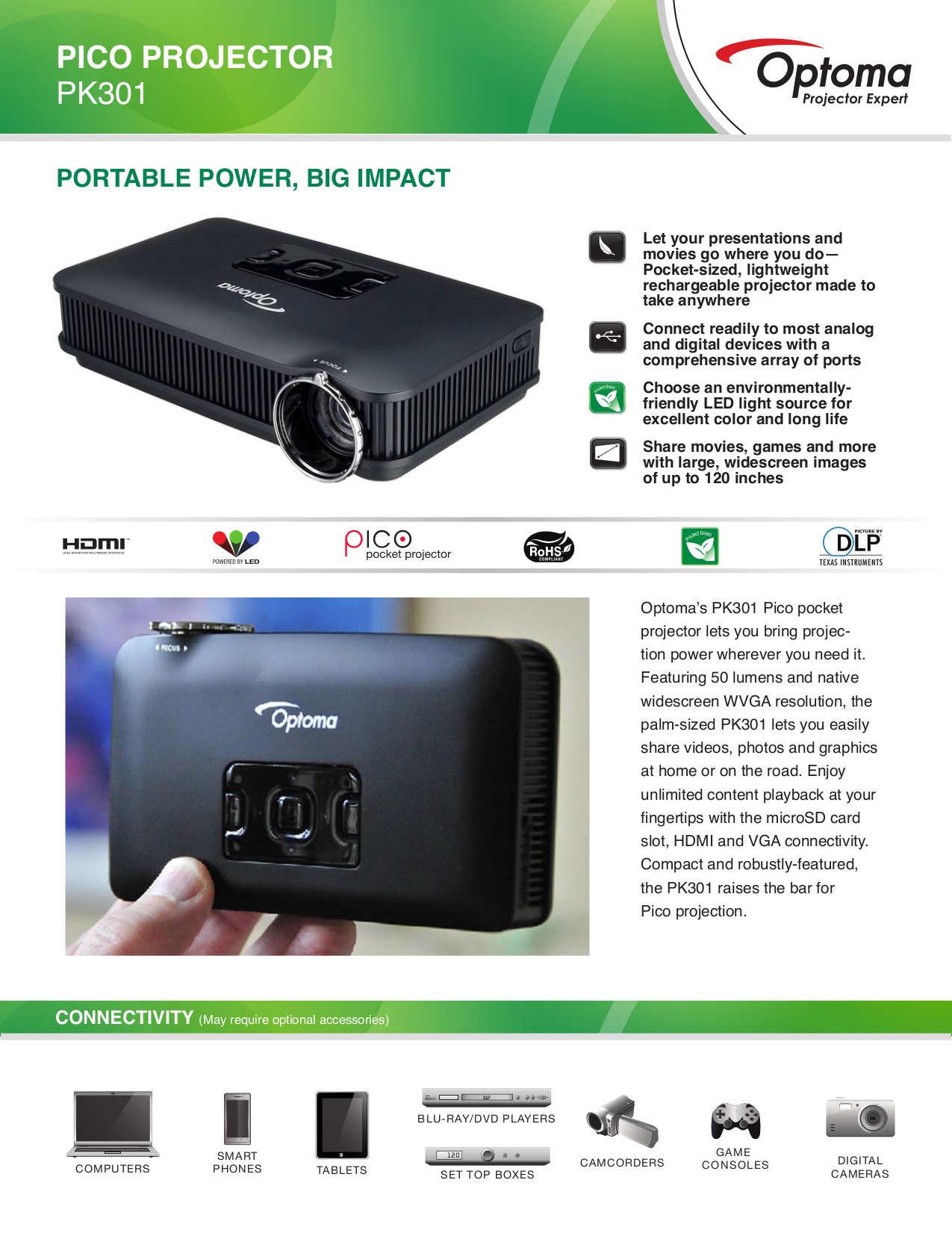 pdf for Optoma Projector PK301 manual