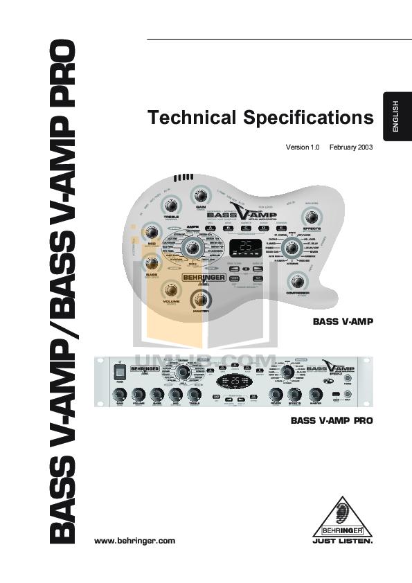 pdf for Behringer Amp V-AMP manual