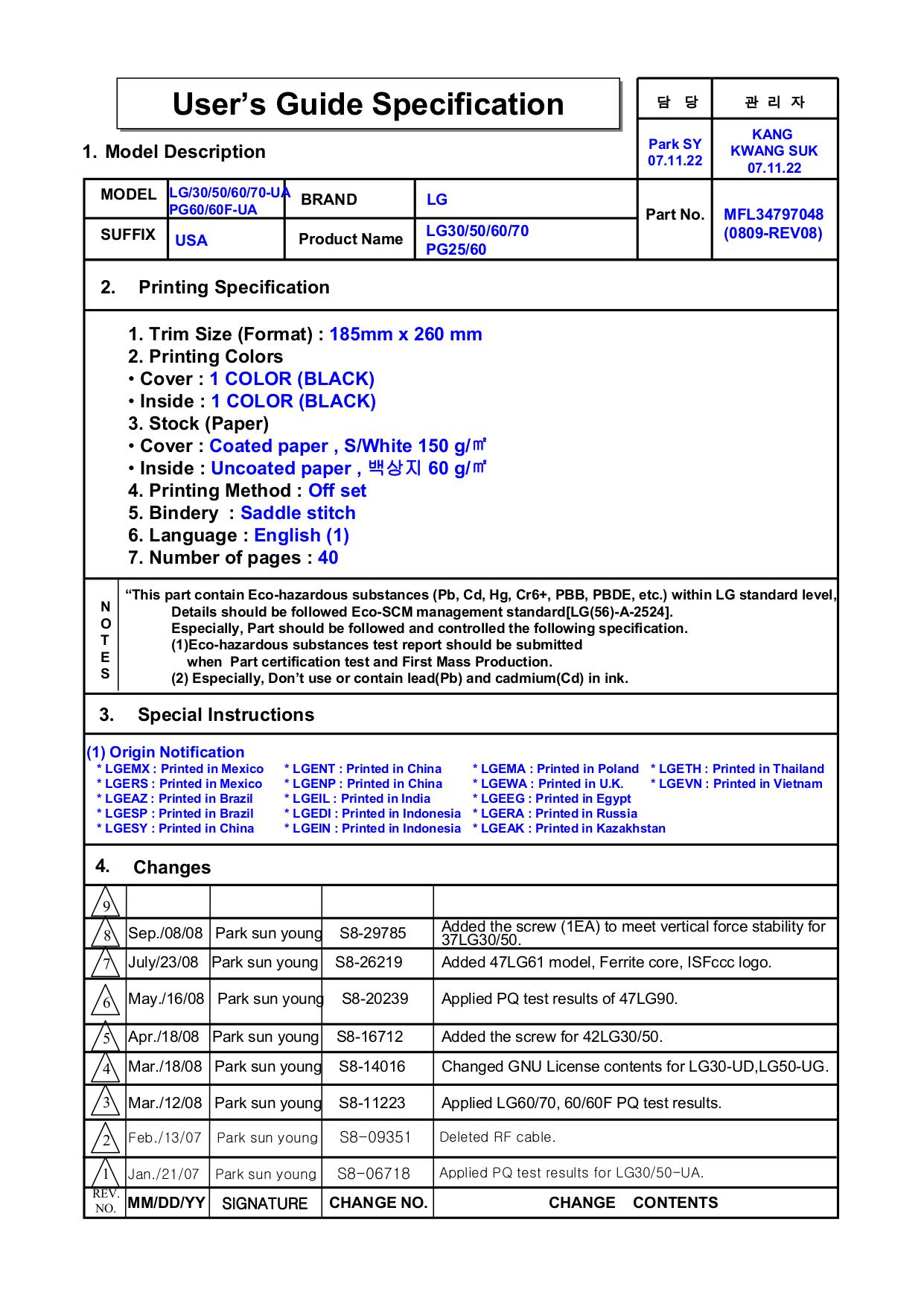 pdf for LG TV 42LGX manual
