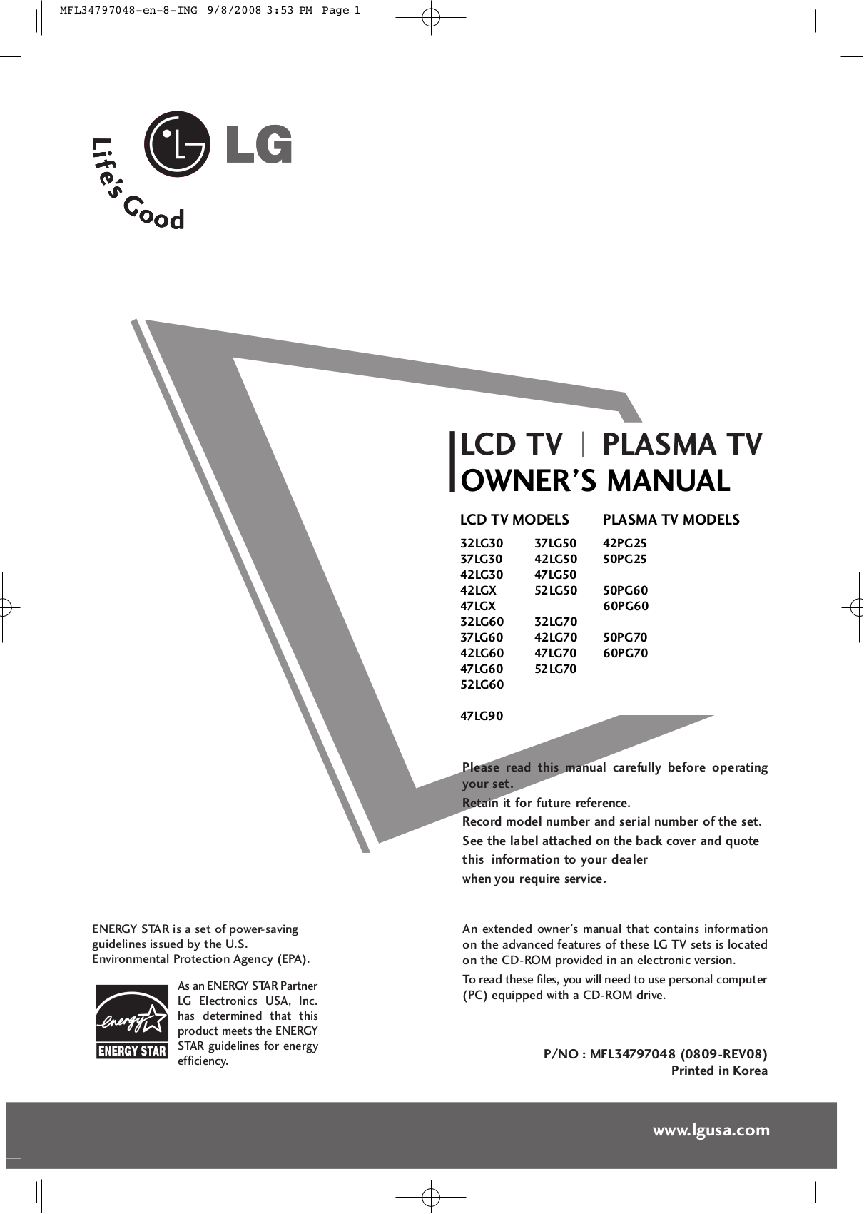 LG TV 42LGX pdf page preview
