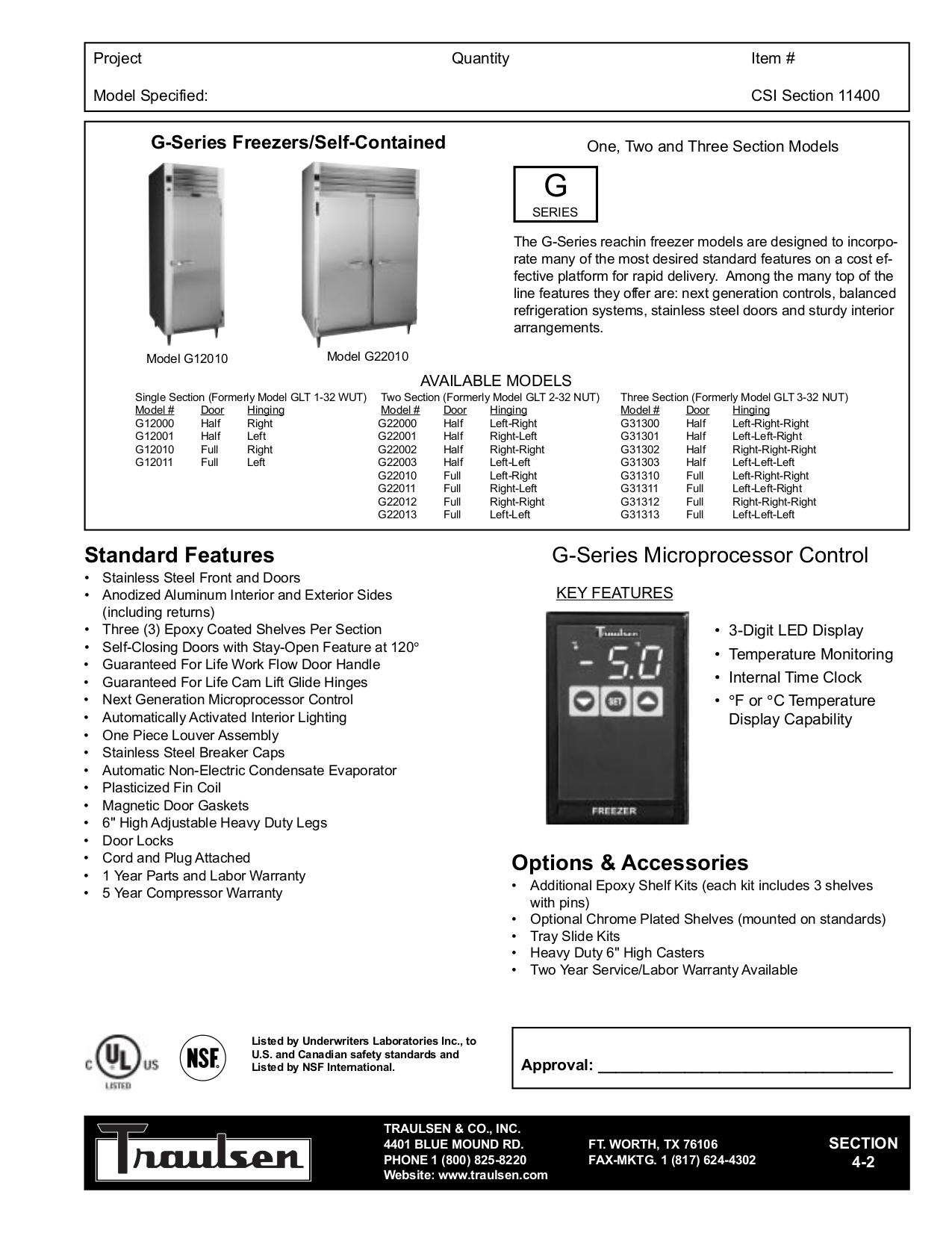 pdf for Traulsen Freezer G22010 manual