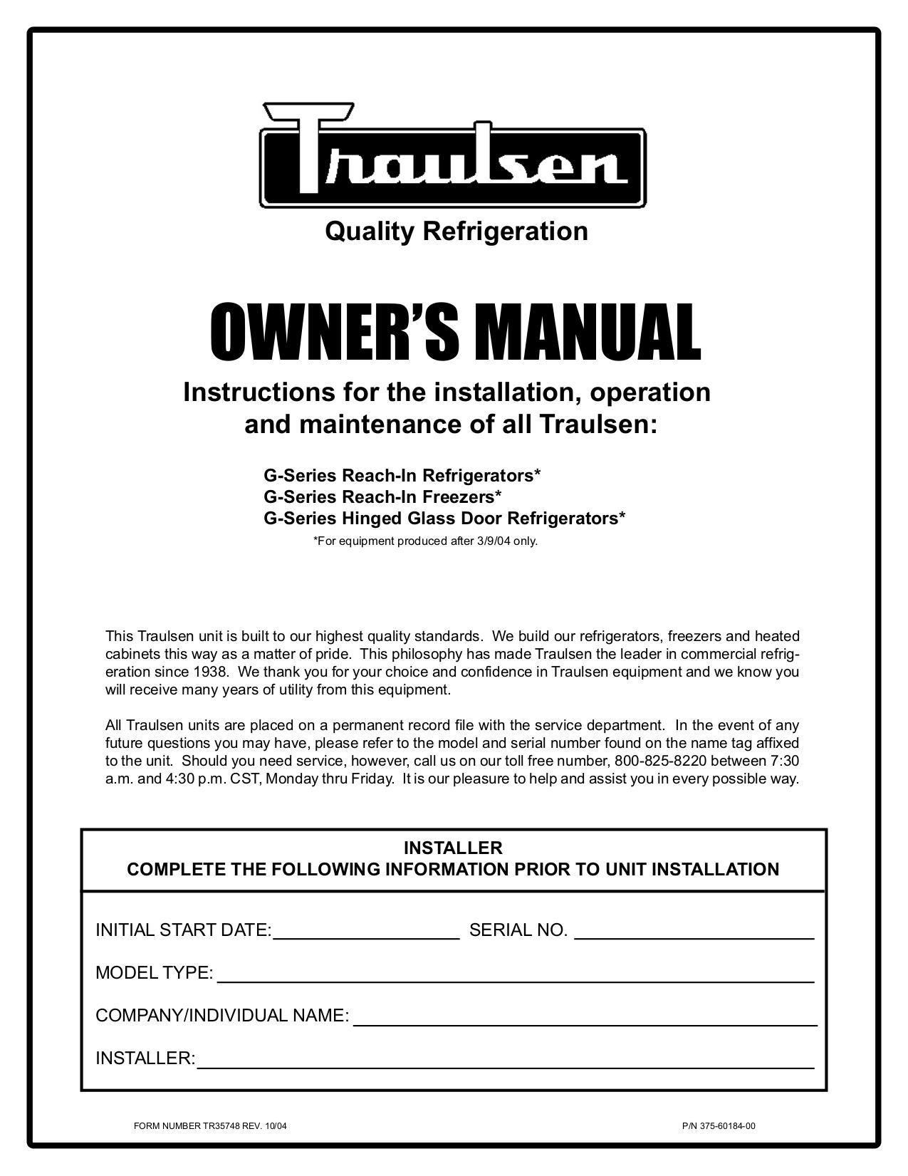 Download free pdf for Traulsen G22010 Freezer manual on