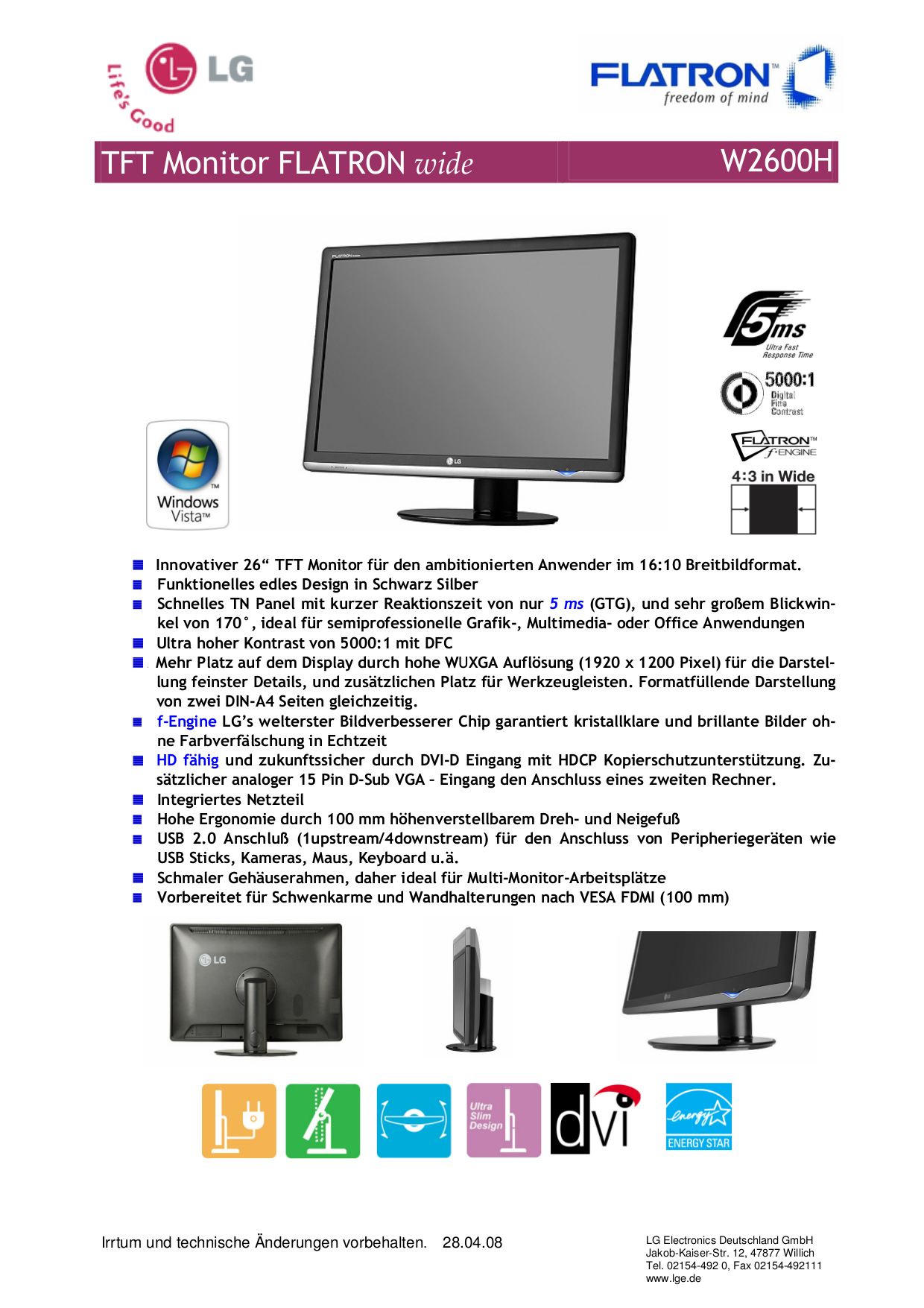 pdf for LG Monitor W2600H manual