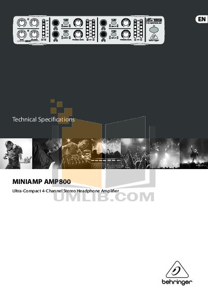 pdf for Behringer Amp AMP800 manual