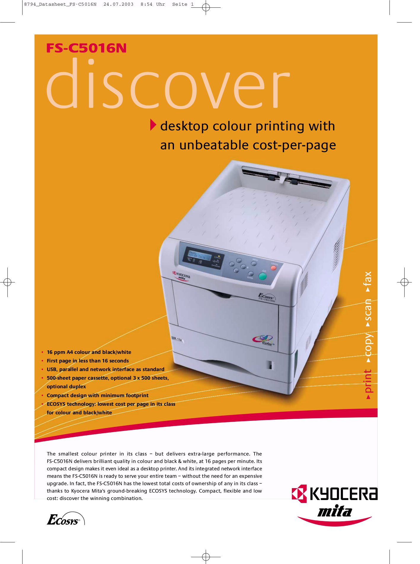 Kyocera Printer FS-C5016N pdf page preview