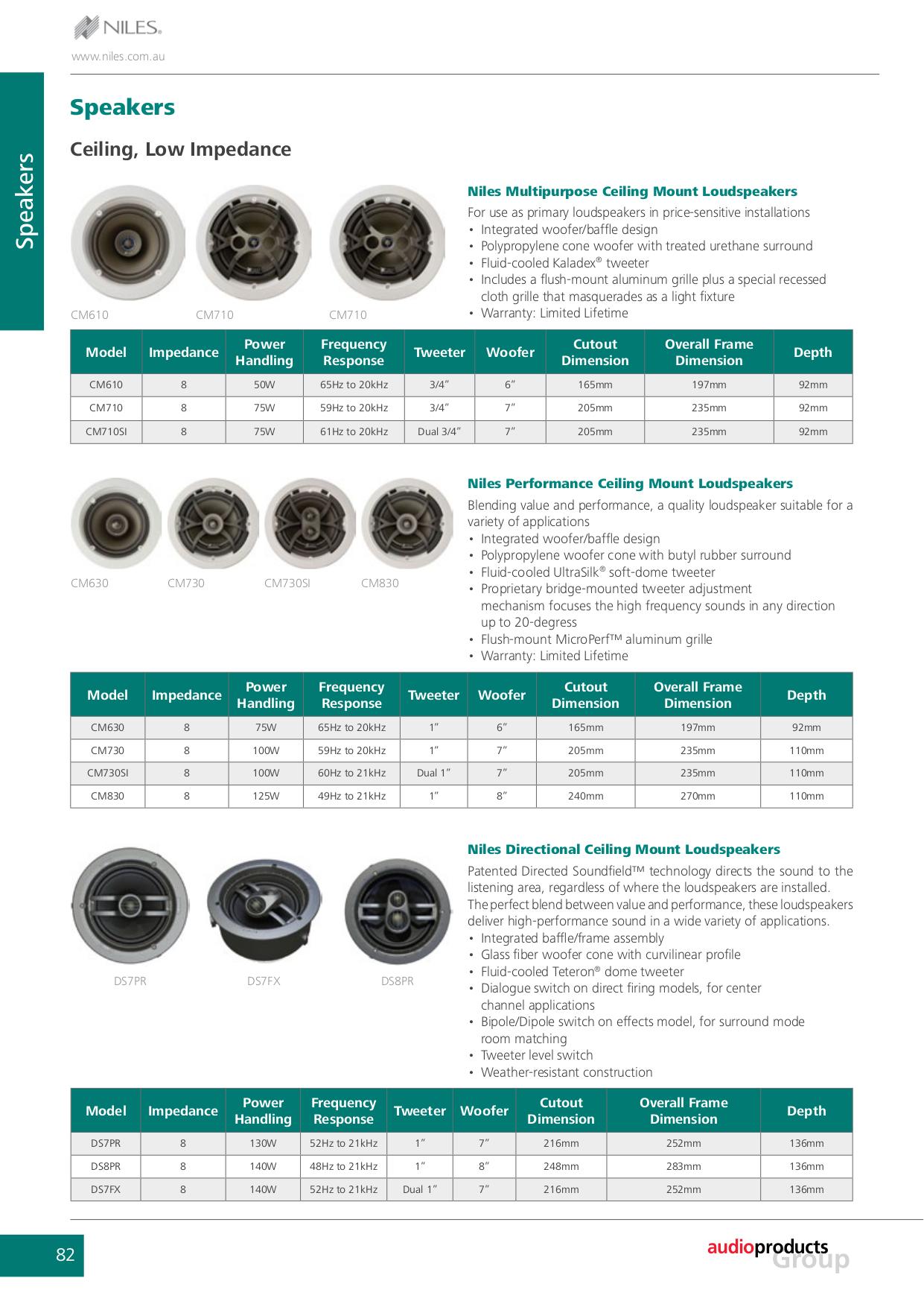 pdf for Niles Speaker CM830 manual