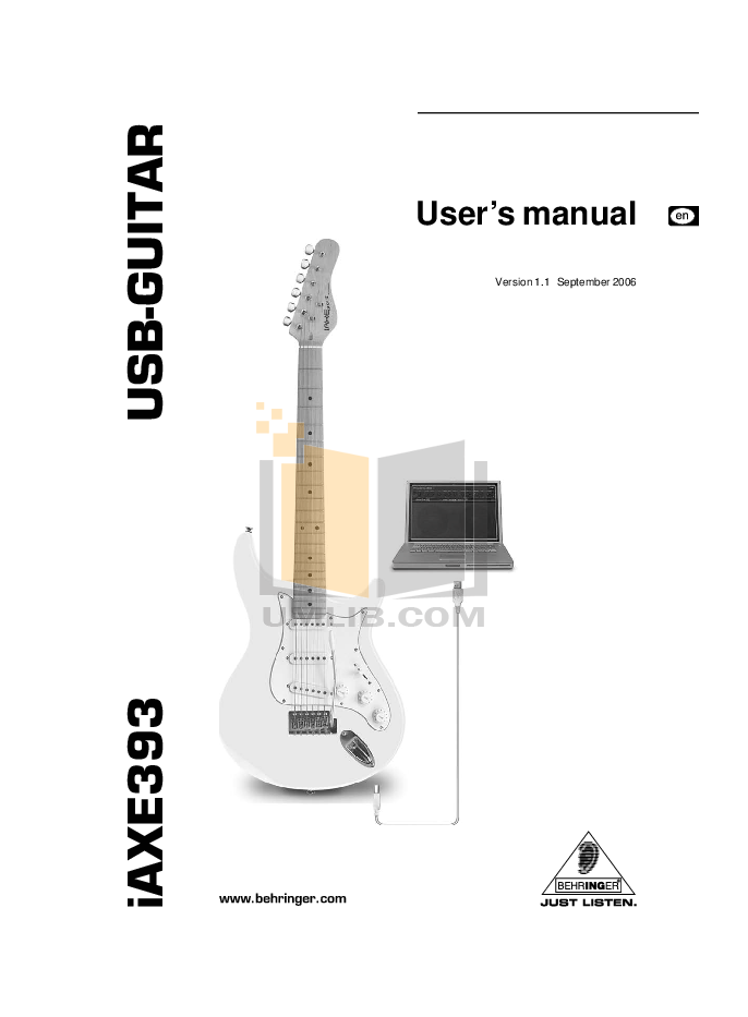 pdf for Behringer Guitar iAXE393 manual