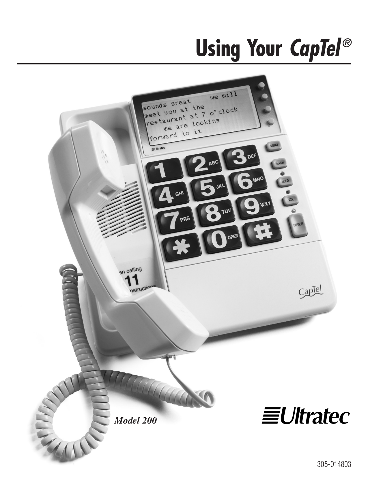 pdf for Ultratec Telephone Captel 200 manual