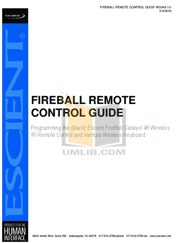 pdf for Escient Remote Control Fireball Catalyst 48 manual